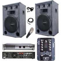 Equipo De Sonido Completo Para Dj Potencia Bafles Consola