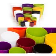 Pack X 3 Macetas Redonda Plastico Premium Nro 16 Colores
