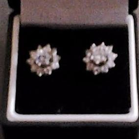 Aretes Diamantes Finas, 130 Pts., Oro Blanco 14k. Par Unica!