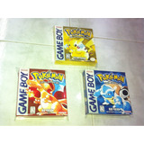 3 Cajas Custom Para Juegos Pokemon Red + Yellow + Blue