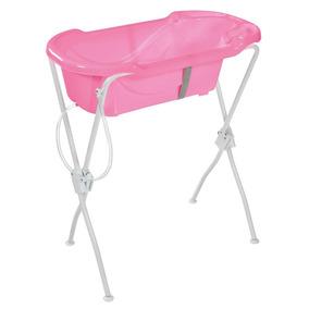 Banheira Ergonômica Com Suporte Rosa Tutti Baby