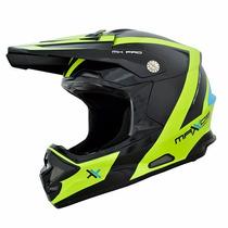 Capacete Moto Cross Mx Pro Preto E Amarelo Mattos Racing