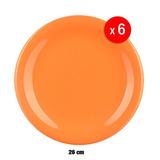 Set 6 Platos Playos 26 Cm Cerámica Naranja