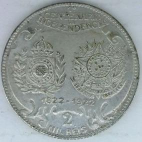 Brasil 2000 Réis 1922 Centenário Da Independência Prata .500