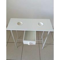 Kit Manicure Pedicure Mesa+suporte+cadeira Pequena Branca