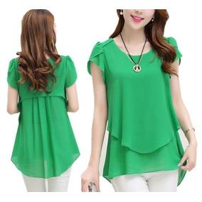Blusas Mujer Verde Manga Corta