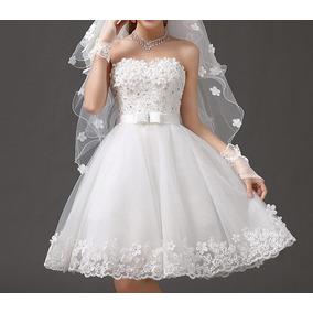 Vestido Curto Noiva Debutante Festa Civil Pronta Entrega