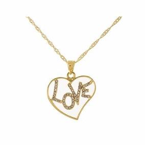 Colar Love Cordão Corrente Feminina Dourada Amor
