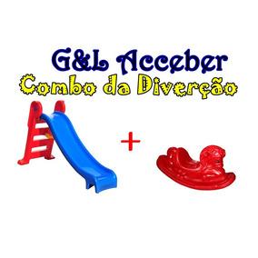 Escorregador Infantil 3 Degraus + Gangorra Cavalinho Lindos!