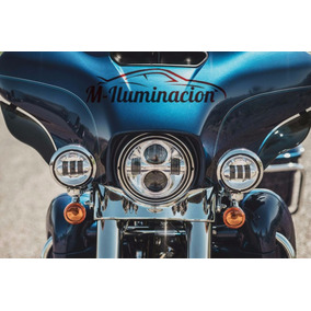 Set Faros Led Daymaker Motos Harley Davidson 7 Y Auxiliares
