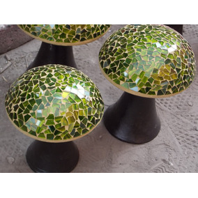 Trio De Hongos De Vitromosaico Verdes (tamaño Mediano)