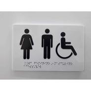 Placa Porta De Banheiro Acessível Cadeirante Braille