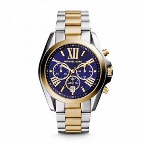 Relógio Luxo Mk5976 Prata Dourado Azul C0021