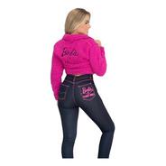 Calça Jeans Letreiro Bordado Barbie Planet Girls