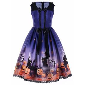 Vestido Halloween Gatos Calabazas Murciélagos Cosplay Xl
