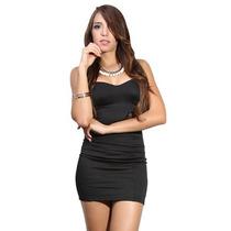 Mishka: Vestido Fiesta Negro Strapless. Entrega Inmediata