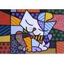 Quadro O Gato - Romero Britto Pintado A Mão - 100x100 Cm