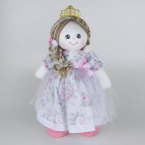 Kit Bonecas De Pano Princesa Rosa Floral Pmg
