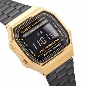 Reloj Casio Negro Dorado Retro A168 Vintage Envio Gratis