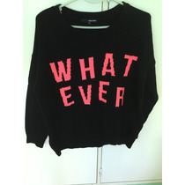 Sweater Mujer Negro Con Frase