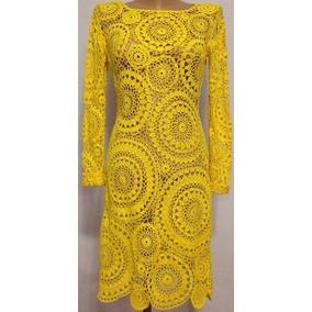 Vestido Amarelo Renda Crochê Personalizado 100%artesanal