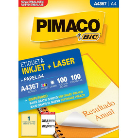 Etiqueta A4367 288,5x200,0mm Ink-jet/laser Pimaco 100 Folha