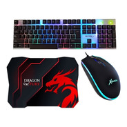 Super Combo Gamer Teclado Y Mouse + Pad Dragon Fury Gaming