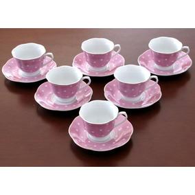 Jogo Xícara Café Porcelana Rosa Fio Dourado 80 Ml 12 Pecas