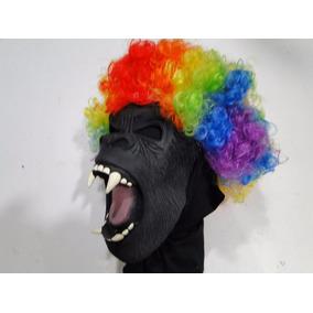Mascara Macaco Peruca Colorida Halloween Boca Aberta Terror