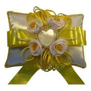 Almofada Porta Aliança Para Casamento - Amarelo Com Branco