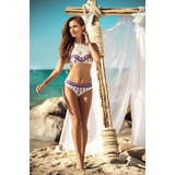 Traje De Baño Crop Top Bikini Blanco/plumas Indias 6858