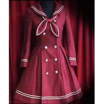 Abrigo Sailor Lolita Color Vino Moda Japonesa Talla M