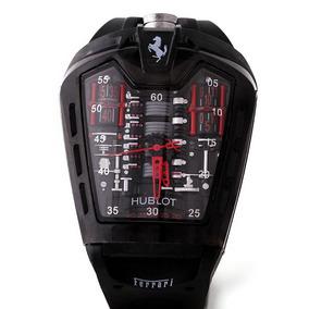 Reloj Motor Ferrari Negro Con Rojo Para Caballero