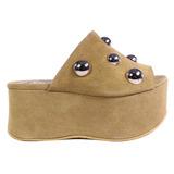 Zuecos Mujer Altos Gamuza Tachas Tops Zapatos