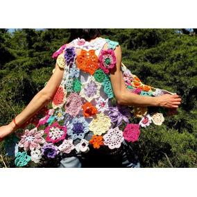 Tejidos Crochet Chaleco Flores Hilo Con Seda