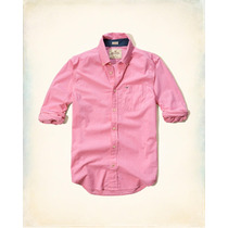 Hollister Camisa De Poplin Color Rosal Talla S Originales