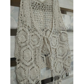 Chaleco Tejido Crochet. Natural Crema Off White