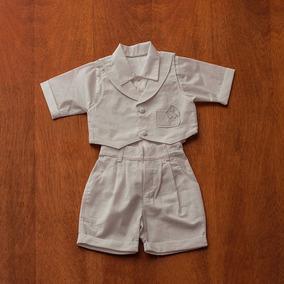 Conjunto Infantil Masculino Para Batizado Branco Rn