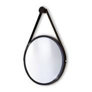 Espelho Adnet Redondo 60cm Preto Alça+pendurador Reduna