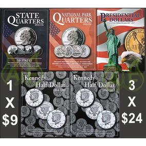 Album Para Coleccionar Las Monedas De Usa 25 Centavos 50 Cen