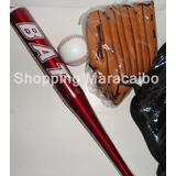 Bate Metalico Pelota Y Guante Kit De Beisbol * Tienda Fisica