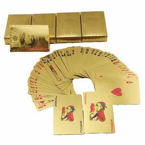 Baralho Dourado Naipes Folheado Cartas Poker Truco