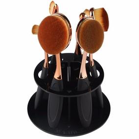 Kit Pincel Maquiagem Escova Oval Dourado Com 6 + Suporte