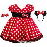 Vestido Infantil Festa Luxo Minnie Vermelha 1-4 Anos E Faixa