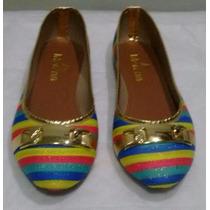 Sapatilha Rasteirinha Detalhe Dourado Calçados Femininos