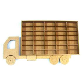 Estante Porta Hotwheels Estilo Caminhão 35 Nichos Mdf Cru