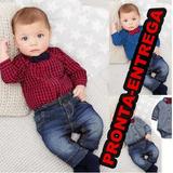 Conjunto Bebê Sendo Calças Jeans + Camisa Xadrez + Gravata