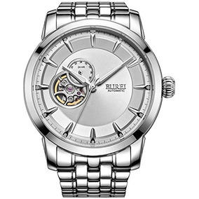 Burei Mens Luxury Big Face Watches Skeleton Automatic Wit