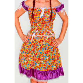Vestido Festa Junina Adulto Caipira Quadrilha