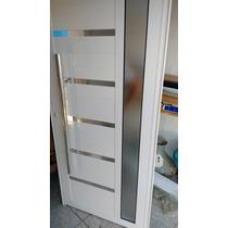 Porta De Alumínio 210x90 Linha 30 Suprema Com Puxador Branca